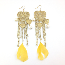 Special Women alli express Vintage Heart shape Tassel Simulated Pearl Long Gold Earring from india