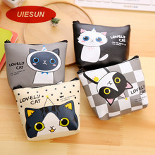 Lovely Cute Cat Coin Change Purse Case Wallet Change Pocket Ladies For iPhone USB Cable Earphone Charger Bag UIE671