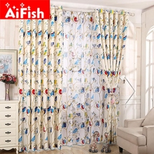 New Arrivel ! Colorful Animal Print Cartoon Cute Owl Curtain Yarn Children Bedroom Cortinas for Living Room DY003 &20(China)