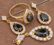 Stunning Flowers Black Onyx Setting Type Gold Filled Overlay Jewelry Sets Earring Pendant Size 6 7 8 9 S8979