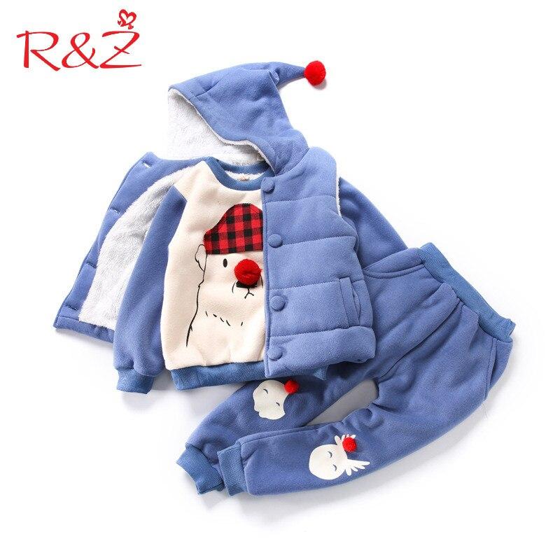 R&amp;Z Baby Girls Clothes Set  2017 Winter Velvet Thickene Hooded Vest Coat + Sweater + Pants 3 Pcs Suit for Children Kids Clothing<br>