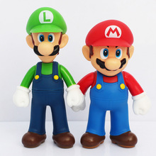 Super Mario Figures 13cm Super Mario Bros Mario & Luigi PVC Action Figure Collection Model Toy for Christmas Gifts 2pcs/lot(China)