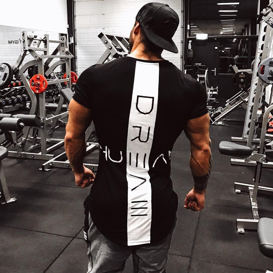 2020 New Men Skinny T-shirt Gyms Fitness Bodybuilding Workout t shirt Male Printed Tee Tops Summer Fashion Casual Brand Clothing