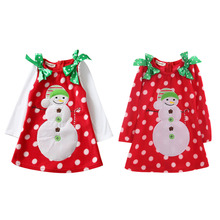 Kids Baby Girls Christmas Dress Long Sleeve Bowknot Snowman Dot Party Children Clothes Outfit 2-7Y - Diary Store store