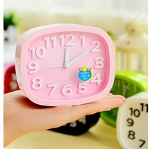 alarm clock Korea sugar/candy color stereo digital desktop clock princess style Lazy people square mute small alarm clock(China)
