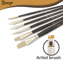 Bianyo 6Pcs Artist Wood Handle Nylon Hair Acrylic Drawing Paint Brush Set For Gouache Watercolor Kids Gift School Art Supplies(China)