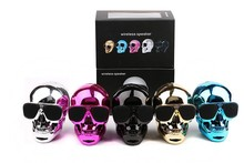 New Plastic Metallic SKULL Wireless Bluetooth Speaker Sunglass NFC Skull Speaker Mobile Subwoofer Multipurpose Speaker(China)