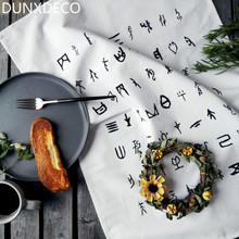 DUNXDECO Cotton Tea Towel White Napkin Food Photo Ground Fabric Tablecloth Black Words Vintage Hieroglyphic Art Print Decor