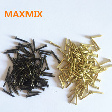 MAXMIX 6mm 8mm 10mm 300PCS Round Furniture drum nail Fit Hinges Flat Round Head Phillips Cusp Fasteners Hardware gold bronze(China)