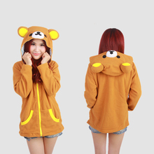 Animal Cosplay Bear Women Hooded Hoodies Sweatshirts With Ears Zipper Tracksuits 2017 Spring Autumn Winter Coat SH012(China)