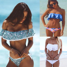Swimwear Women Swimsuit Push Up Swimwear Female 2017 Sexy Bandeau Bikini Ladies Brazilian Beach Bathing Suit bandage Bikini Set(China)
