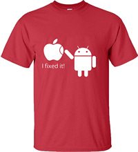 Cotton Men T Shirts Android Robot Male T-Shirt Apple Humor Logo Printed Funny T Shirt Short Sleeve Tee Shirts(China)