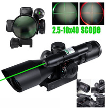 Tactical Compact Laser Riflescope 2.5-10X40 Riflescope Illuminated Tactical Riflescope with Green  Laser Hunting Scope