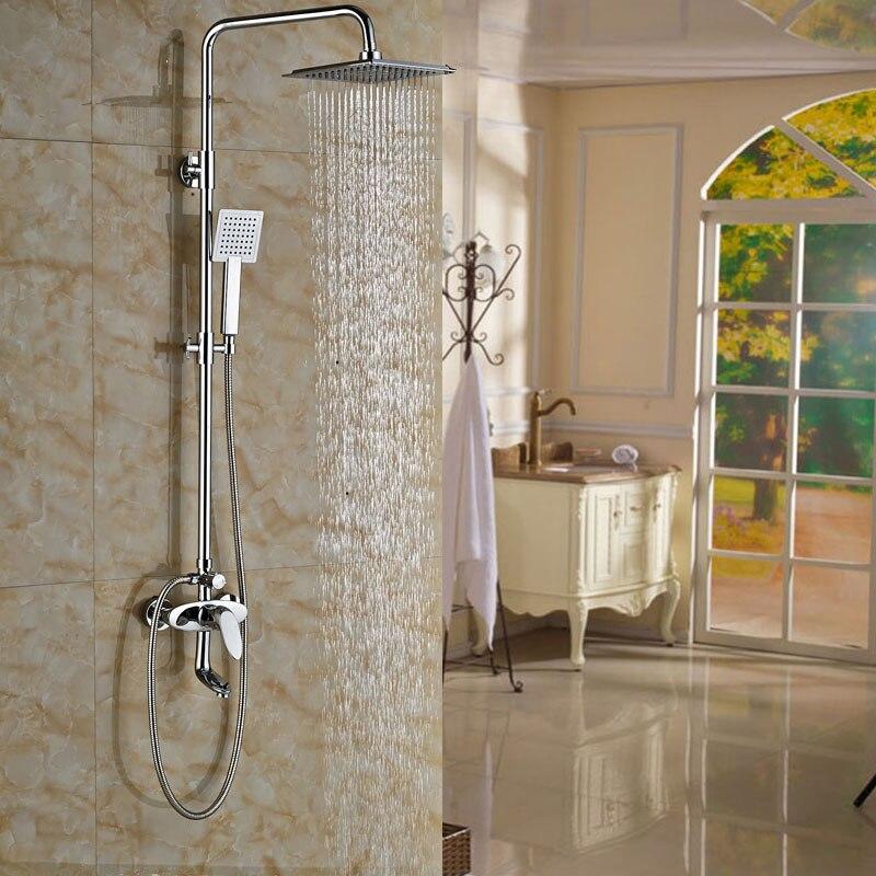 Polished Chrome Wall Mount Rainfall Shower Mixer Faucet 8 Rainfall Showerhead + Handshower + Tub Spout<br><br>Aliexpress
