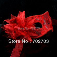 Free Shipping 10pcs/lot halloween red Masquerade Mask glam lace and feather mask
