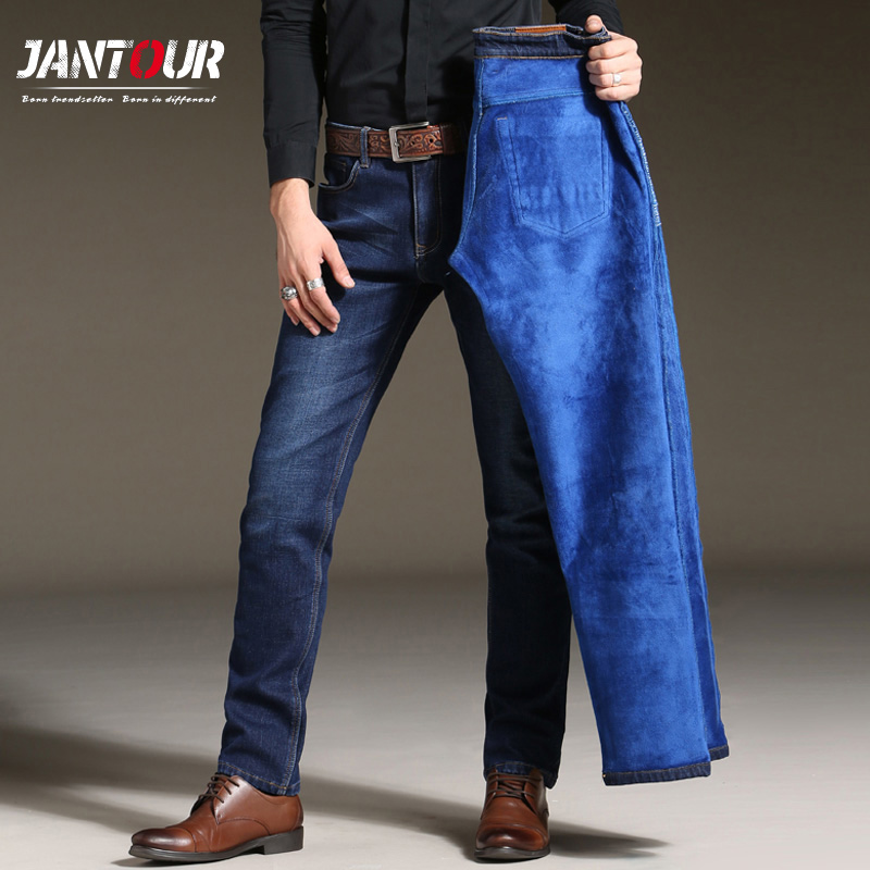 2017 new winter warm Jeans Men high quality Straight Fit black Blue Denim Pants Large size Trousers Business fleece Man 38 40 42Îäåæäà è àêñåññóàðû<br><br>