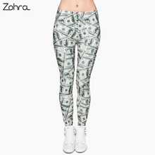 Zohra Women Money Dollar Graphic Full Printing Pants Legins Ladies Legging Stretchy Trousers Slim Fit Leggings