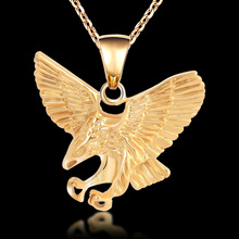 Punk Style Eagle Necklace Men Jewelry Trendy Gold Color Wholesale Animal Hawk Wing Charm Pendant Necklace Accessories Gift(China)