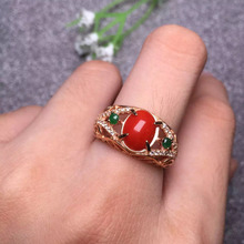 8.9*7.5mm fine jewelry ring 925 sterling silver natural SUNFLOWER red coral ring for women(China)
