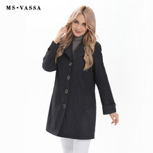 MS VASSA Coat Women  2017 New fashion trench coat ladies casual happy size trench plus size 5XL,10XL turn-down collar outerwear