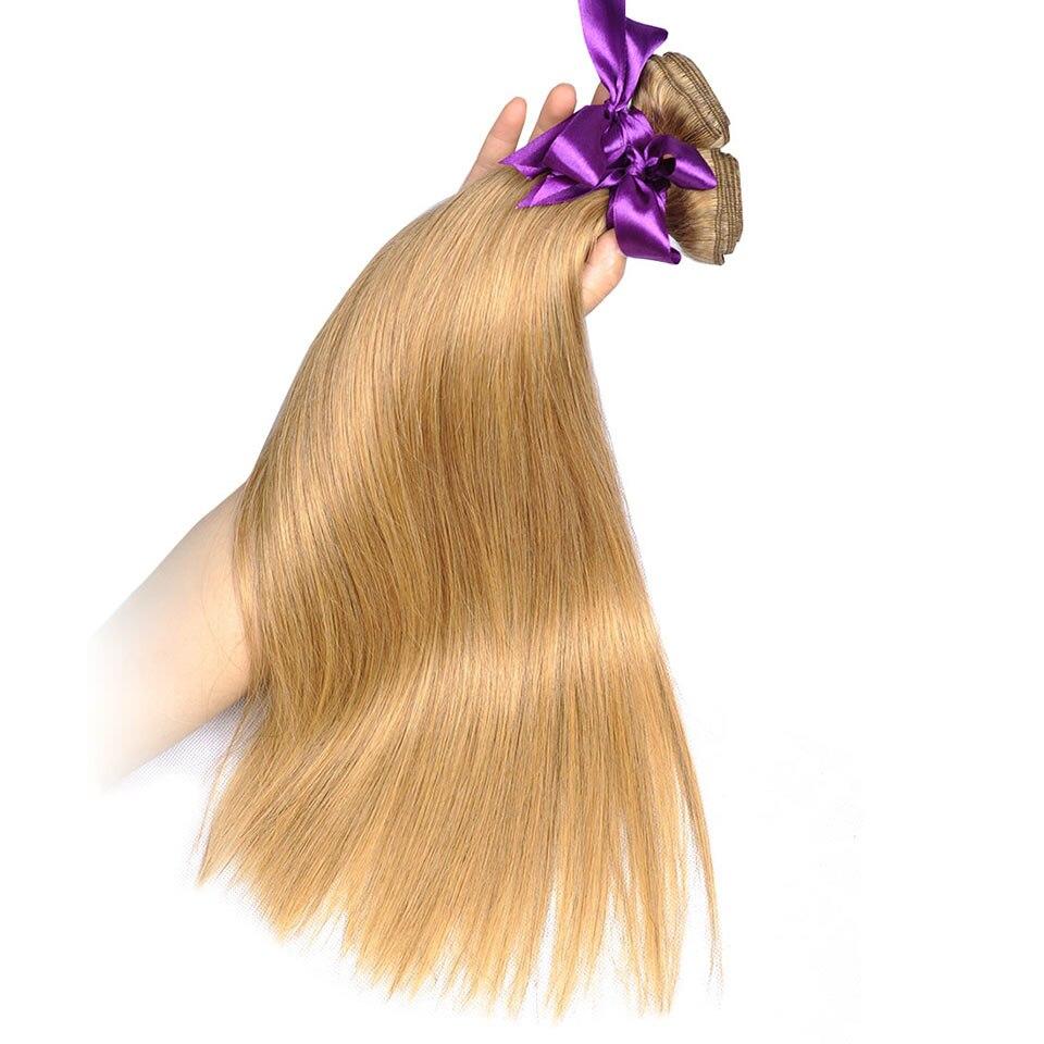 blonde brazilian straight hair bundles beautiful color 27# (14)