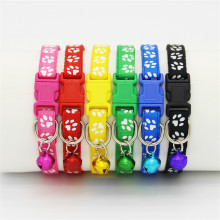 Safety Nylon  Dog Puppy Cat Collar Breakaway Adjustable Cats Collars with Bell and Bling Paw Charm width 1.0cm