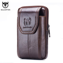 BULL CAPTAIN Leather Sling Cigarette Bag Male Purse Leisure Sling Bag Small Pocket New Men Waist Bag 5 inch Mobile Phone Bag(China)