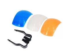 New 3 Color Pop up Flash Diffuser with one Bracket for Digital Cameras free shipping