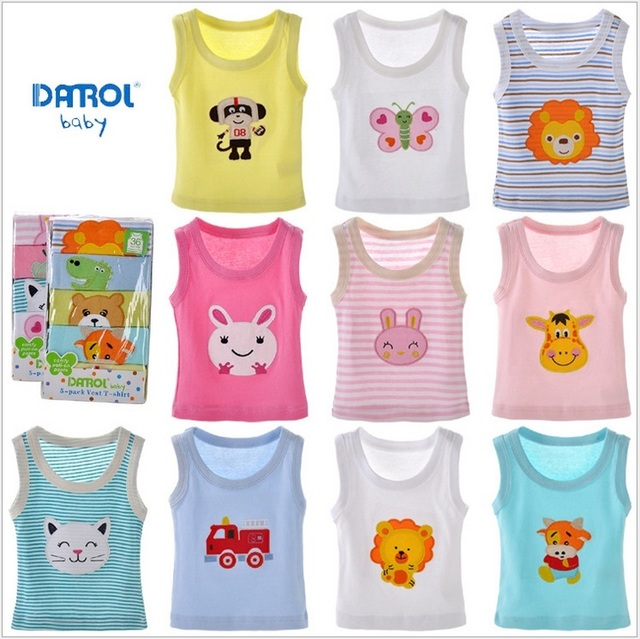 2017 Summer Baby Vest 5pcs Pack Cotton Sleeveless T Shirt Kids Boys S Cartoon