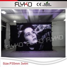 Free shipping 3m high x 4m width P35mm led cloth play video dj equipment operable curtain wall