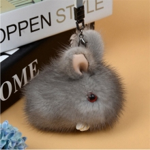Handmade 100% Real Mink Fur Keychain Pendant Bag Car Charm Cell Phone Key Rings Cute Mini Fluffy Rabbit Doll Keychain K057-grey