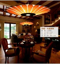 Southeast Asian Bamboo skin Chinese style droplight sitting room bedroom restaurant Lamps  hotel teahouse creative woodwork