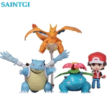 SAINTGI Go Japanese Anime Pocket Monsters Trainer Red Champlan Ver. Cute Nendoroid Action Figure Toys 6-10cm PVC