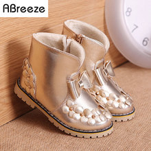 2016 New autumn winter children boots fashion PU waterproof boots for girls 3-8T flat with kids snow boots warm girls shoes(China)