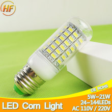 24~144Chips E27 LED Lamp 220V 110V LED Bulb Light 5W 7W 9W 12W 15W 18W LED Corn Light Bulb Lampara Bombilla lampada Lampe Lampa(China)