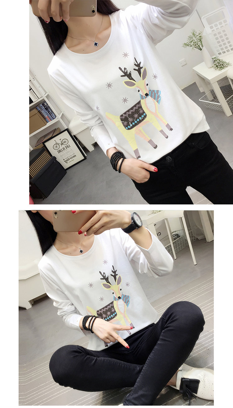Fashion Women's T-shirts Elk Print T-shirts Ladies 2019 Autumn Tops Tees Casual Long Sleeve Funny Tshirts Femme Poleras Mujer (5)