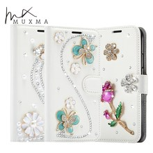 Crystal Case For Xiaomi Xiomi Redmi 4X Glitter Rhinestone Leather Cover Flowers Diamond Stand Case For Xiaomi Redmi 4A Card Slot(China)