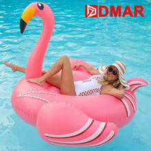 DMAR Inflatable Flamingo Giant Pool Float 190CM Mattress Beach Sunbathe Mat Air Swimming Ring CircleWater Sea Beach Party Toys