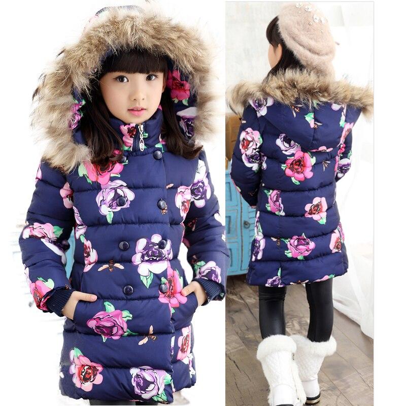 Girls winter jacket Child Girls down Coat Parkas Floral Printed Hooded Fur collar Kids Down Jackets Girls Outerwear CoatsОдежда и ак�е��уары<br><br><br>Aliexpress