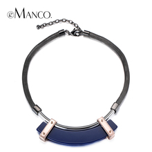 eManco three colors geometric acrylic choker necklace snake chain alloy statement necklaces for women concise creative collar(China)