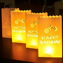10pcs/lot HAPPY BIRTHDAY Paper Luminary Bag Tea Light Votive Candle Holder Bag 1st Birthday Beach Party Decoration Centerpieces