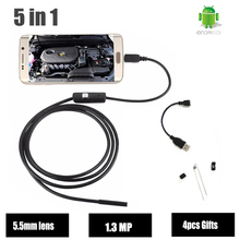 HD Endoscope USB Android 720P 5.5mm Lens 1.3MP Snake Tube Camera Car Endoscope Flexible Borescope inspection Camera Waterproof