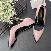Spring autumn lady gray white pink red patent leather thin high heels shallow mouth pointed pumps elegant fashion shoes women