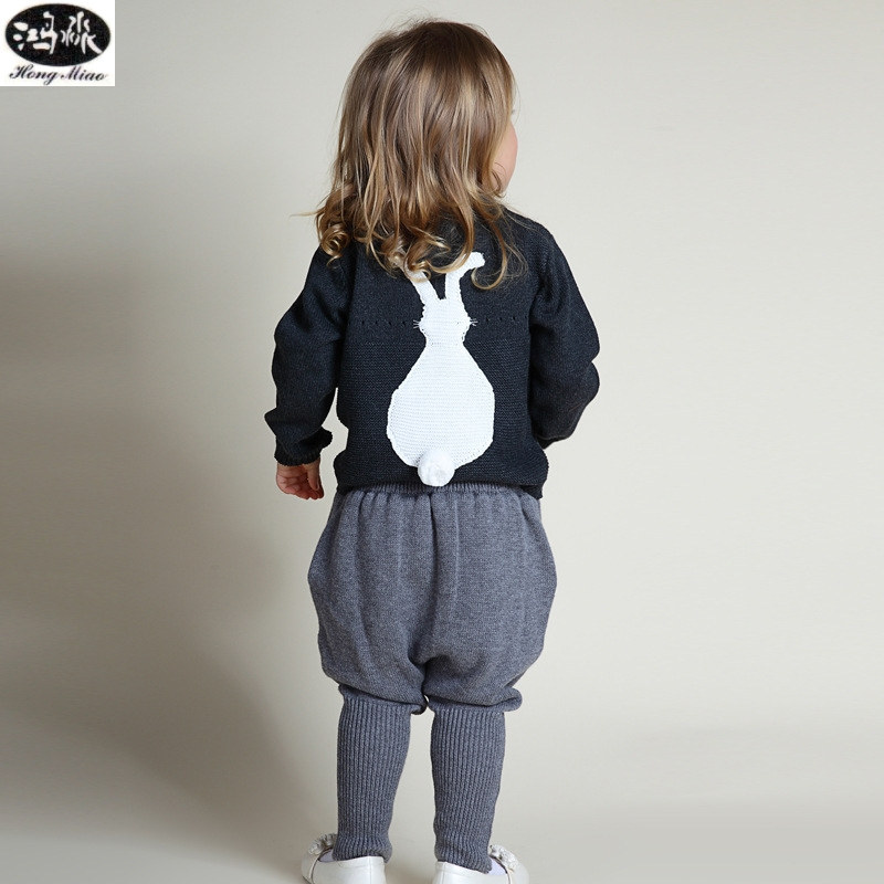 2016 Casual Fashion Baby Tracksuit Cotton Boys Girls Clothing Set White And Dark Gray Knit Pullover Gray Slacks Kids Clothes<br>