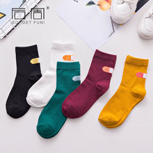 5 pairs/lot Autumn and winter ladies heel pile socks band aid college wind socks manufacturers selling custom Retro