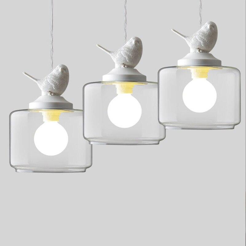 Nordic Creative Pendant Lights Restaurant/Bar Lamp Childrens room/Club Modern Glass Pendant Lamps With Bird Lighting<br><br>Aliexpress