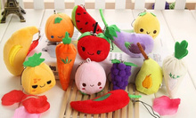 Kawaii Mini 6-9CM Vegetables & Fruits Random Models- Keychain DOLL Plush TOY Phone Strap Charm TOY DOLL Wedding Bouquet TOY DOLL