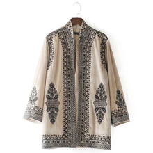 Vintage Totem Embroidery Velvet Kimono Jacket Women Coat 2017 New Fashion Cardigan Stand Collar Outerwear Casual Tops Mujer(China)