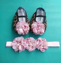 Leopard headband set toddler baby shoes,baby moccasins,infant fabric baby booties,cheap newborn shoes