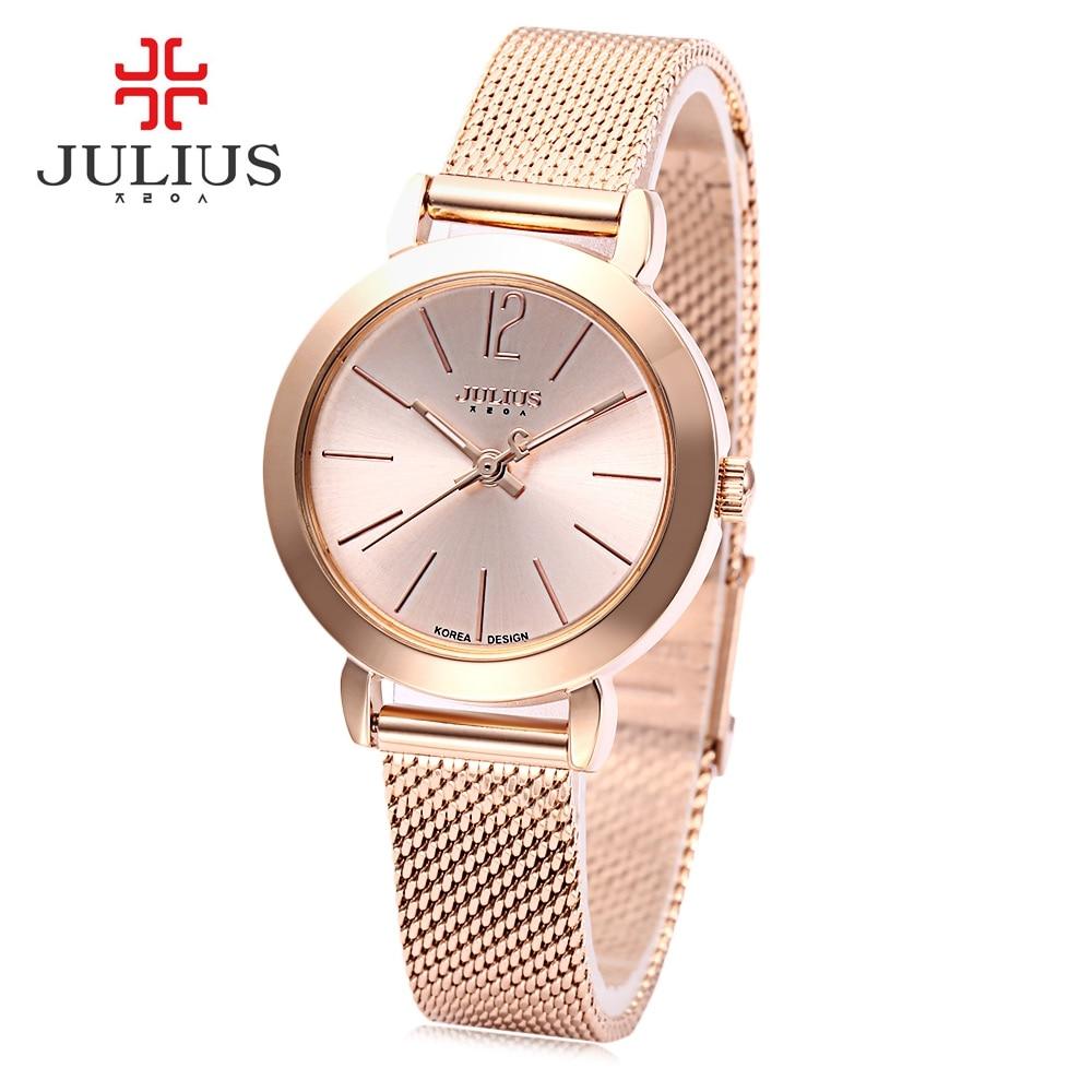 2017 JULIUS Luxury Brand Bracelet Watch Fashion Rose Gold Girl Watches Women Thin Mesh Band Quartz Ladies Wristwatch Reloj Mujer<br><br>Aliexpress